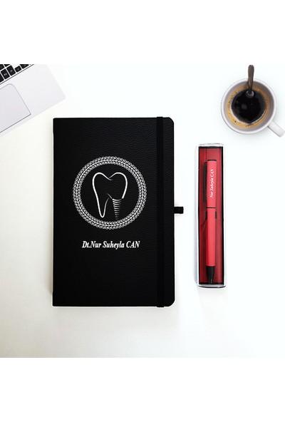 Mybamba Kişiye Özel Diş Hekimlerine Çalışanlarına Thermo Deri Defter ve Kalem 1
