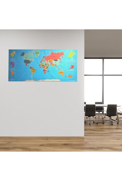 Buffer Renkli Atlas Dünya Haritası Manyetik Yapıştırıcı Gerektirmeyen Duvar Stickerı 118 x 56 cm