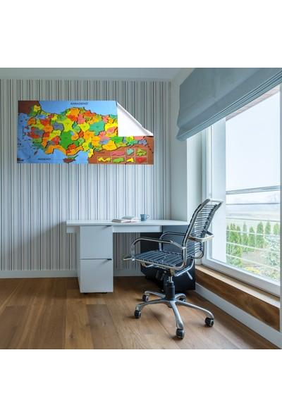 Buffer Renkli Türkiye Haritası Manyetik Yapıştırıcı Gerektirmeyen Duvar Stickerı 118 cm x 56 cm