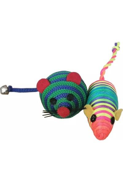 Ans Renkli Gökkuşağı Fare Kedi Oyuncak 2'li 15 cm