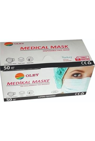 Oley Cerrahi Maske Tek Kullanımlık Telli 3 Katlı 1 Kutuda 50 Adet