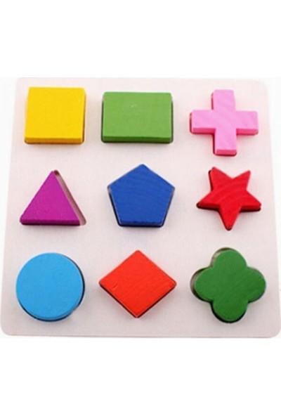 Wooden Toys eğitici Ahşap Oyuncaklar 2in1 Set Tavşanlı Bultak Saat+Geometrik