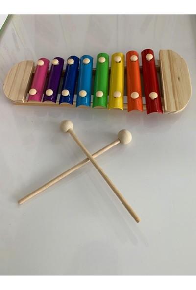 Wooden Toys Büyük Boy Ahşap Ksilofon 8 Nota 8 Ton 25 cm 8 Tuşlu Sesli Selefon Oyuncak