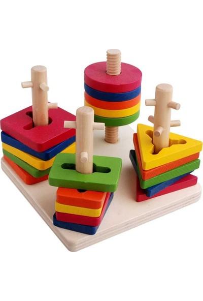 Wooden Toys Woddywood Eğitici Ahşap Oyuncak 4'lü Geometrik Bultak Vidalama Oyunu Bultak
