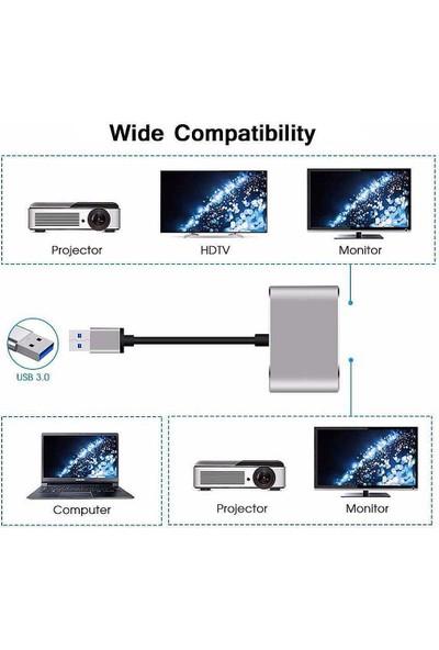 CoverZone USB 3.0/ 2.0-HDMI-VGA-HDTV Adaptör Kablosu Harici Dönüştürücü
