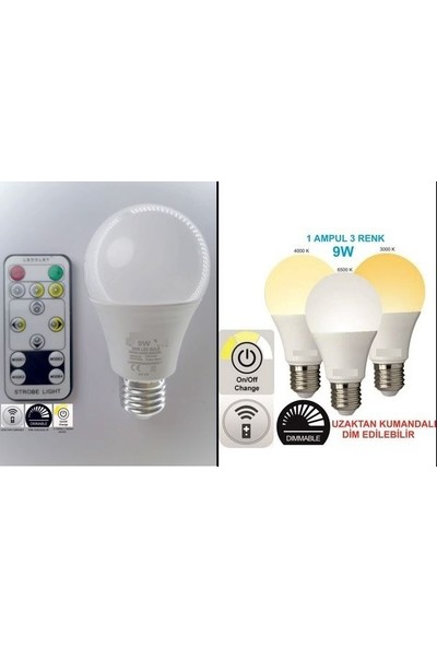 Teletek 9 W Kumandalı 3 Renk Dim Edilebilir LED Ampül