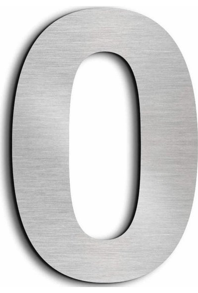 Se-Dizayn Kapı Numarası 20 cm No 0. Kendinden Yapışkanlı Paslanmaz Çelik Arial Yazı Tipi