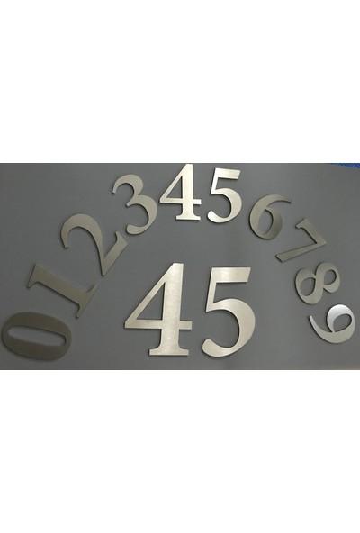 Se-Dizayn Kapı Numarası 20 cm No 4,kendinden Yapışkanlı Paslanmaz Çelik Roma Yazı Tipi