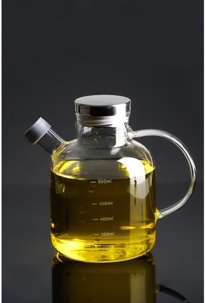Acar Evie Metal Kapaklı Oval Cam Yağdanlık - 650 ml