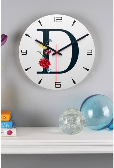 Hediye Dükkanı Hediyedukkani D Harfi Çiçek Tasarım Ahşap Duvar Saati