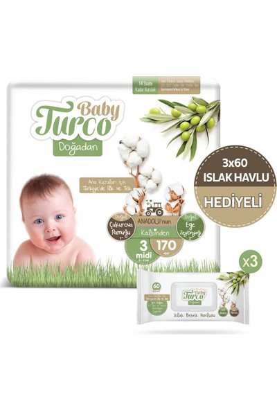 Baby Turco Doğadan 3 Numara Midi 170'LI