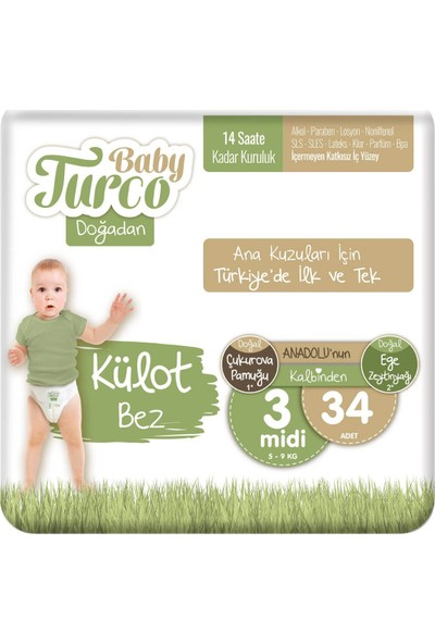 Baby Turco Doğadan Külot Bez 3 Numara Midi 34'lü