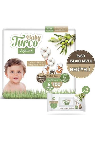 Baby Turco Doğadan 6 Numara Xlarge 100'LÜ 3*60'LI Islak Havlu Hediyeli