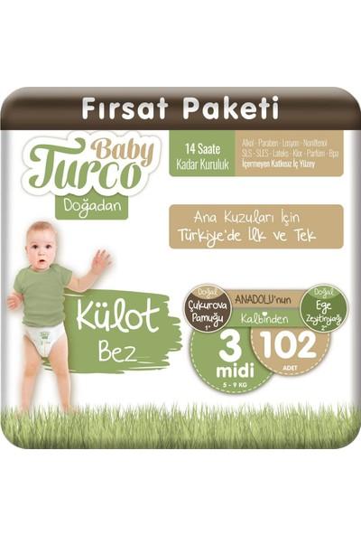 Baby Turco Doğadan Külot Bez 3 Numara Midi 102'LI