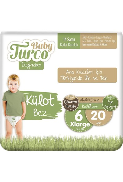 Baby Turco Doğadan Külot Bez 6 Numara Xlarge 20'li