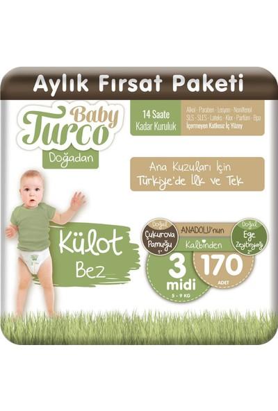 Baby Turco Doğadan Külot Bez 3 Numara Midi 170 Adet