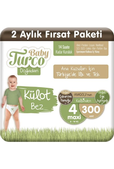 Baby Turco Doğadan Külot Bez 4 Numara Maxi 300'lü