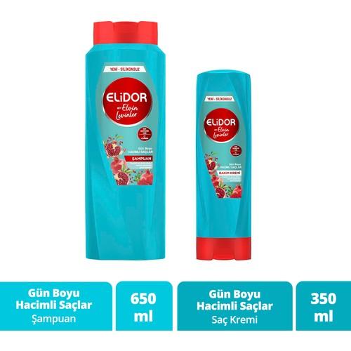 Elidor Gün Boyu Hacimli Saçlar Nar Çiçeği Yağı Özlü Saç Bakım Şampuanı by Elvin Levinler 650 ml + Saç Bakım Kremi 350ml
