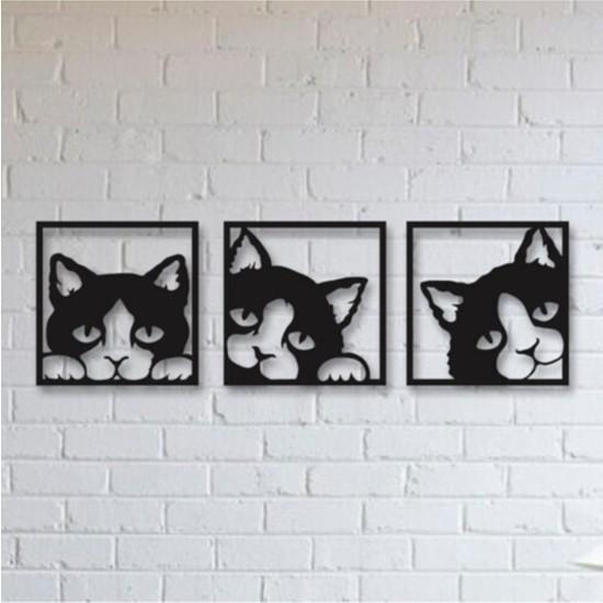 Hediye Kumsalı Kedili 3'lü Ahşap Duvar Tablosu