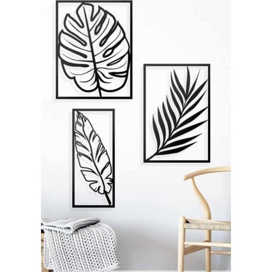 Hediye Kumsalı Dekoratif Ahşap 3'lü Doğa Yaprak Temalı Tablo