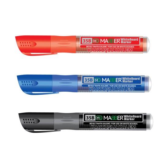 Mabber Kartuşlu Beyaz Tahta Kalemi Kırmızı - Mavi - Siyah 3'lü