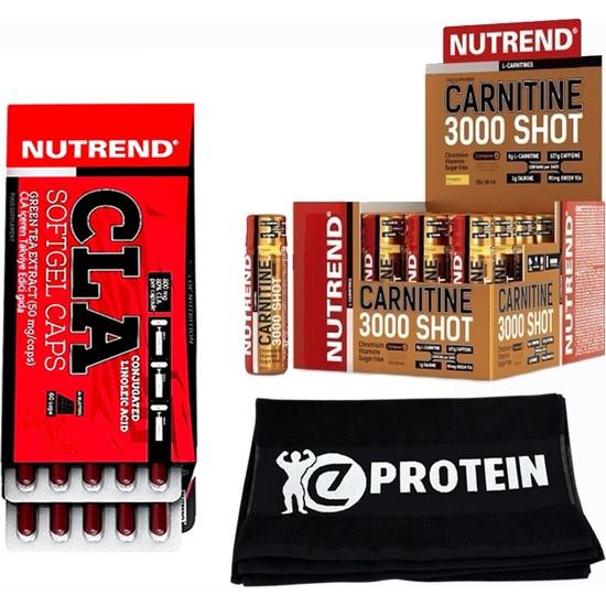 Nutrend L-Carnitine Plus 3000 Shot 20 Adet + Nutrend Cla 60 Softgel Caps + Fitness Havlu