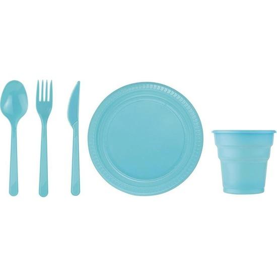 Çelik Pençe 25 Kişilik Mavi Plastik Tabak Bardak Çatal Bıçak Kaşık Seti