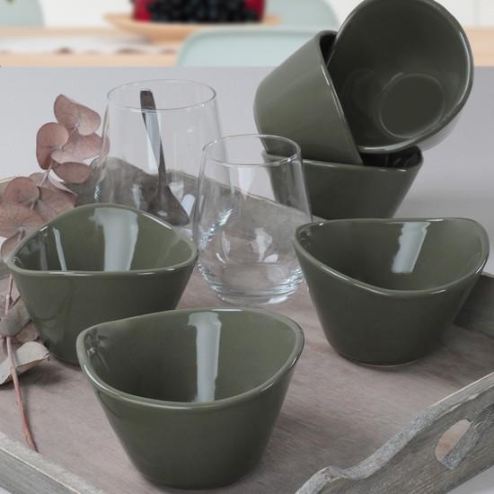 Keramika Koyu Yeşil Tigela Çerezlik 11 Cm 6 Adet