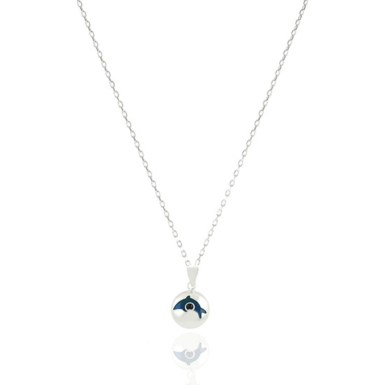 Takı Mağaza 925 Ayar Gümüş Nazar Boncuklu 15 mm Yuvarlak Yunus Kolye