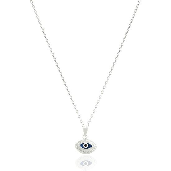 Takı Mağaza 925 Ayar Gümüş Nazar Boncuklu 15 mm Motifli Badem Kolye