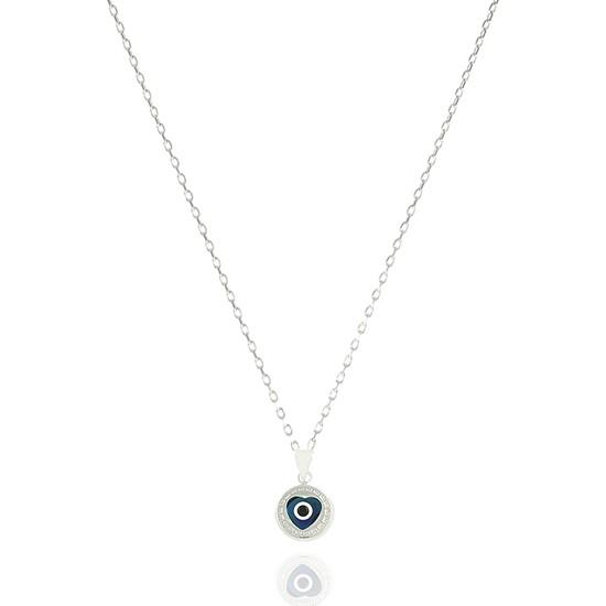 Takı Mağaza 925 Ayar Gümüş Nazar Boncuklu 12 mm Kalp Kolye