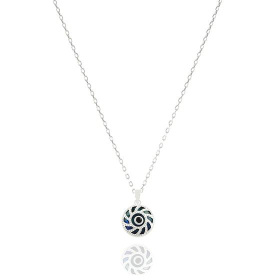 Takı Mağaza 925 Ayar Gümüş Nazar Boncuklu 15 mm Çarkıfelek Kolye