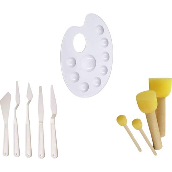 Rich 3'lü Set, Spatula,palet ve Ponpon Fırça