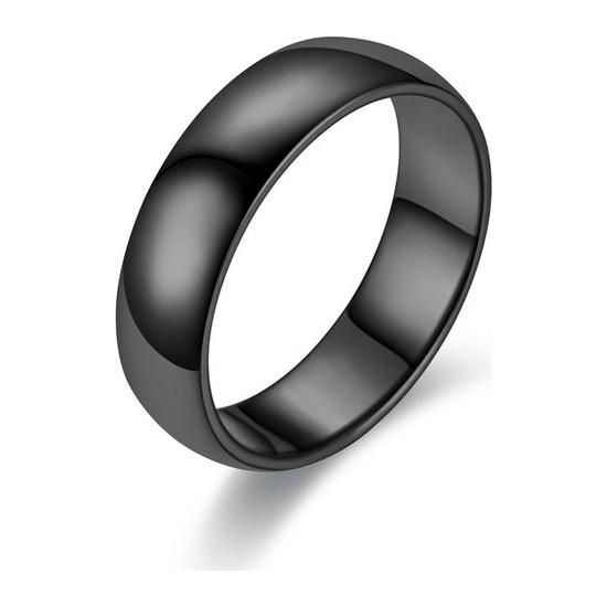 Chavin 6 mm Söz Siyah İp Kaplama Unisex Çelik Yüzük
