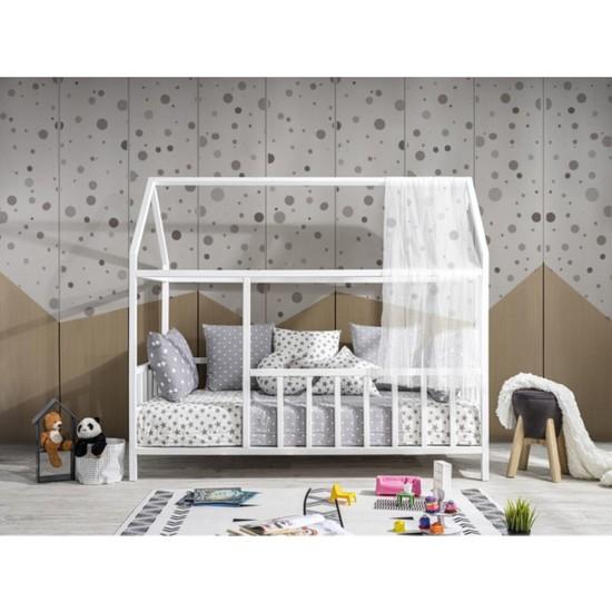 Baby Kinder Beyaz Montessori Bebek ve Çocuk Karyolası - 70 x 130 cm