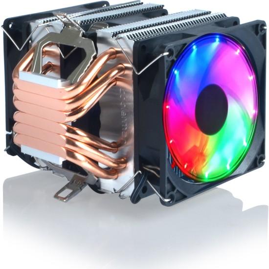 Snowman 6 Bakır Kanallı 3 Fanlı Rainbow X6 Cpu Fan Işlemci Soğutucu