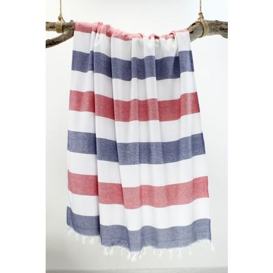 Bedinn Peştemal Havlu Stripe Lacivert-Kırmızı