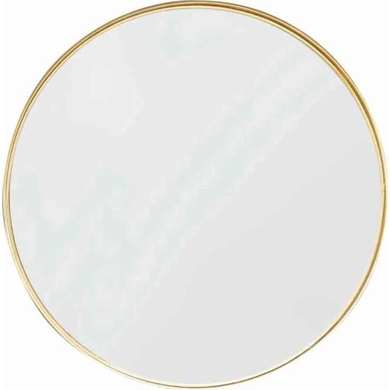 Otto Asu 60 cm Metalik Gold Çerçeveli Ahşap Dekoratif Ayna