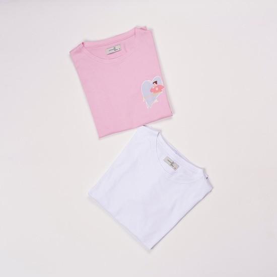 Mamma Lattes 2'li Hamile ve Emzirme Tişörtleri, 2'li Paket, Baskılı Pembe ve Baskısız Beyaz