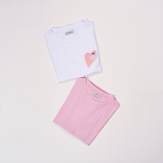 Mamma Lattes 2'li Hamile ve Emzirme Tişörtleri, 2'li Paket, Baskılı Beyaz ve Baskısız Pembe