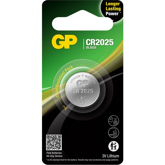 GP Tekli CR2025 3V Lityum Düğme Pil (GPCR2025-U1)