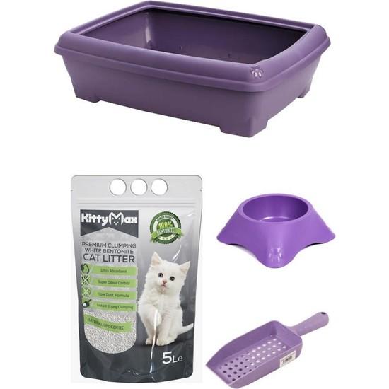 Mamazade Mor Açık Kedi Tuvaleti + Mama Kabı + Kum + Kürek Seti