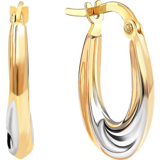 Gelin Pırlanta 14 Ayar Altın Halka Küpe - 1.7 cm