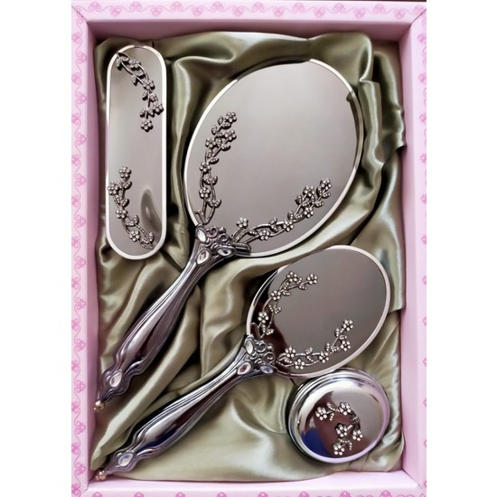 Saraylı Gümüş Sarmaşık Ayna Tarak 4'lü Çeyiz Seti