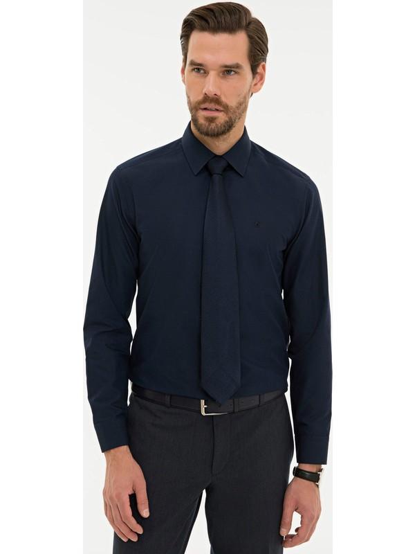Pierre Cardin Erkek Lacivert Slim Fit Basic Gömlek 50233527-VR033