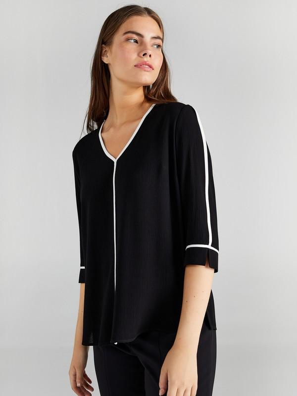 Faik Sönmez Kadın Kontrast Biyeli Bluz 61162