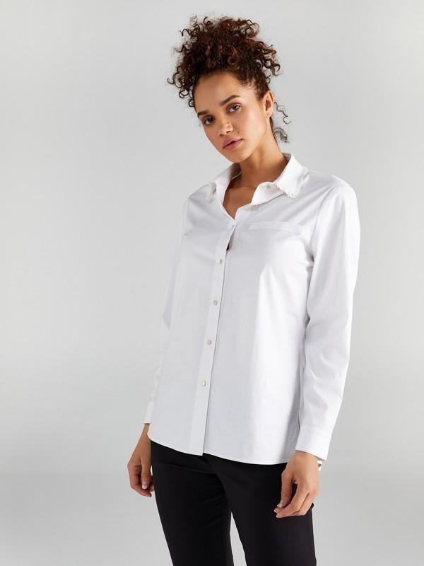 Faik Sönmez Kadın Yakası Fırfırlı Uzun Kol Düz Gömlek 61326