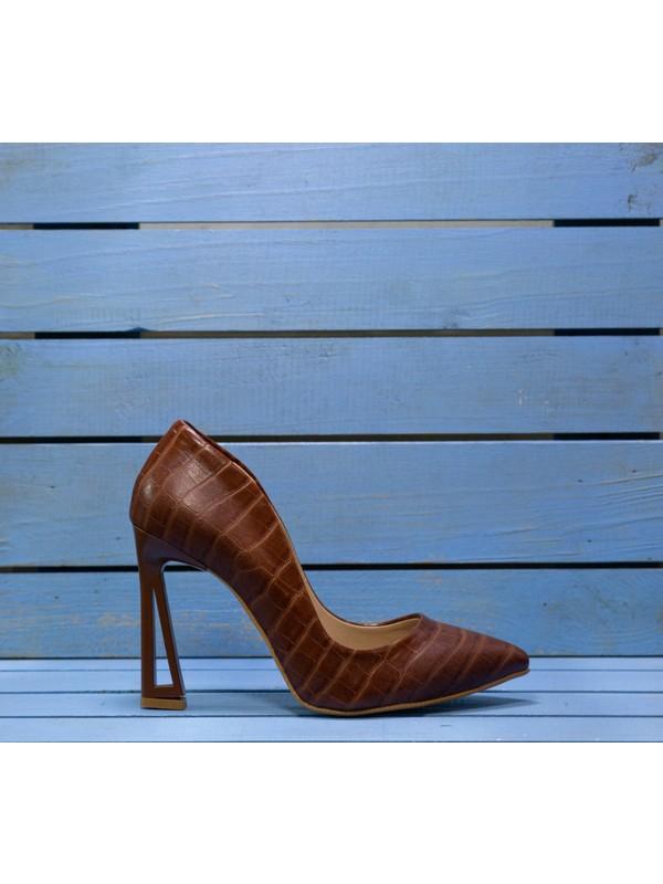 Papuç Taba Kroko Üçgen Topuk Model Topuklu Ayakkabı