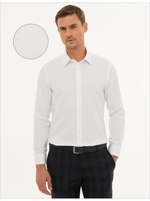 Pierre Cardin Erkek Beyaz Slim Fit Armürlü Gömlek 50233531-VR013