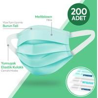 Happy Yumuşak Elastik Kulaklı 3 Katlı Telli Yeşil Cerrahi Maske 200 Lü